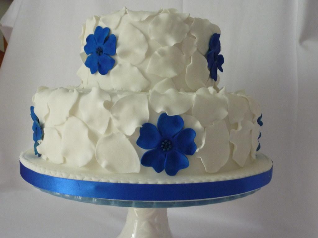 White And Royal Blue Wedding Cake