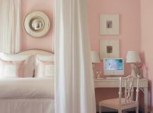 Pretty pink-and-white bedroom: White Dogwood by Sherwin-Wi ...