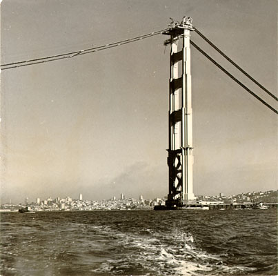 View of the Golden Gate Bridge while under construction S