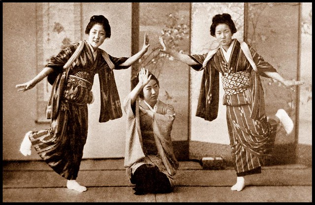 DANCING GIRLS in OLD JAPAN  A friendly trio of smiling