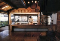 Somewhat modernized kitchen in traditional Japanese rural ...