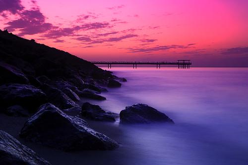 pink sunset kuwait landscape