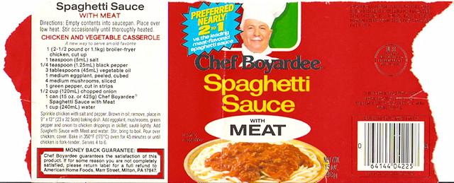 1982 Chef Boyardee Spaghetti Sauce can label Gregg