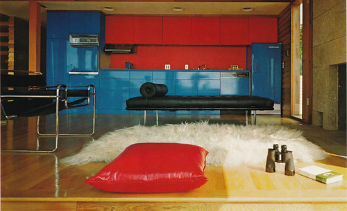Red and blue kitchen by architect John Fowler  Flickr