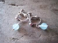 Blue larimar screw on earrings for unpierced ears. In silv ...