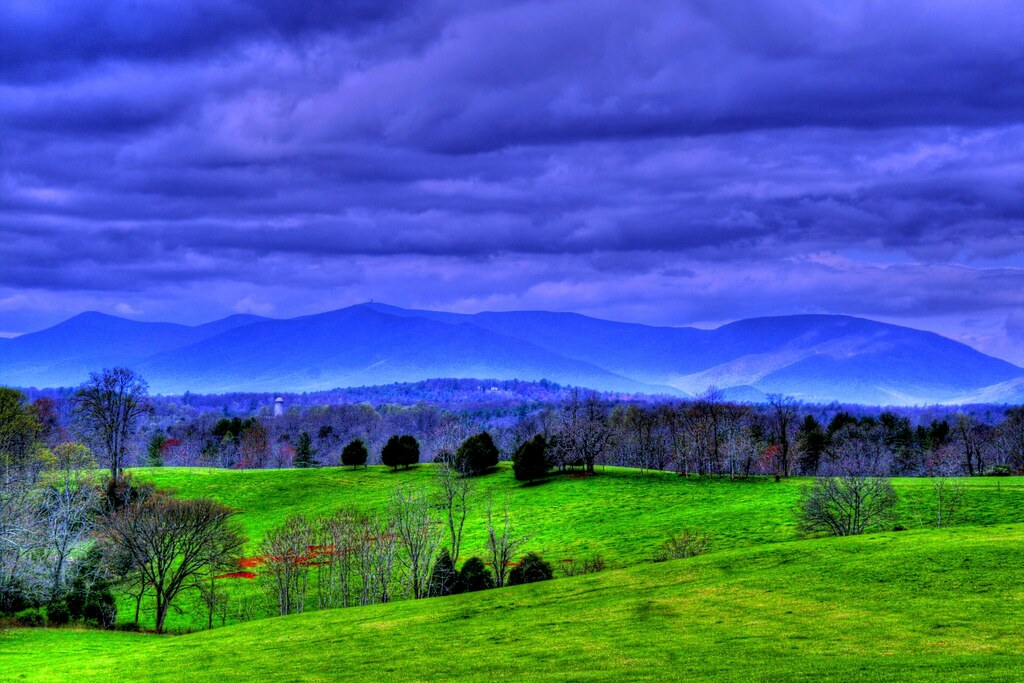 The Blue Ridge Mountains  The green rolling hills forest