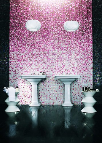 Pink Mosaic Tile Bathroom  Mosaic tile shading blends