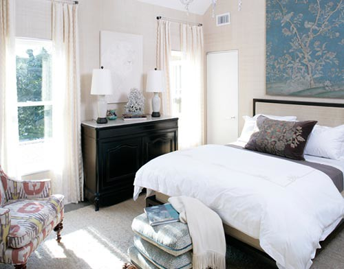 Blue  white  brown bedroom Colors of sea  sand in beau