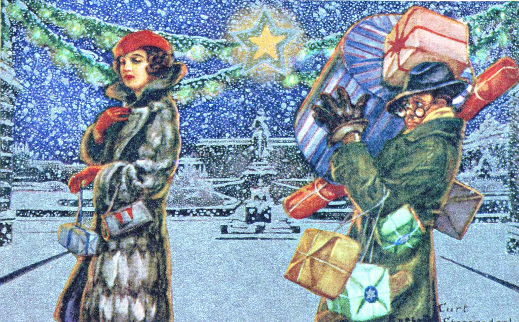 Christmas Shopping In Style Vintage Christmas Card From
