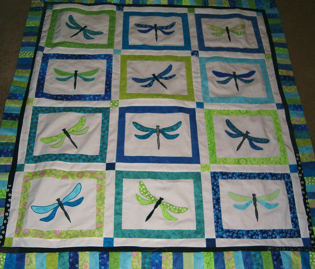 Dragonfly quilt in blueturquoisegreen  Full view of the
