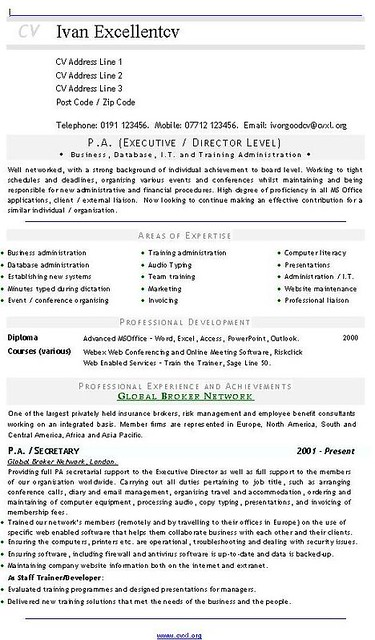 PA Executive  Director Level CV  Resume  CVs and Resume  Flickr