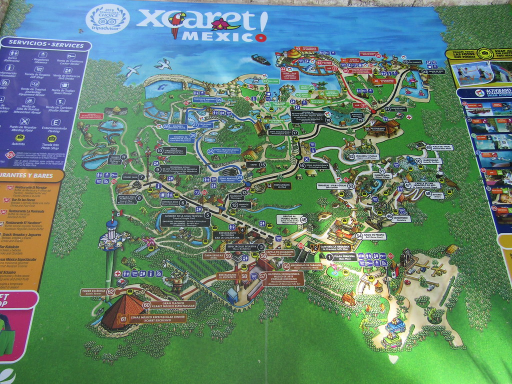 Map of Xcaret  Our fourth visit to Xcaret  and just as