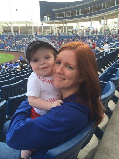 Jamesie and Mommy at the Dodger Game