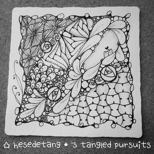 Zentangles - New tangle Cabbit and Diva Challenge Wk 222 (2/6)