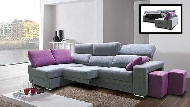 Sofa combinado en color gris y frambuesa  Bonito sofa de