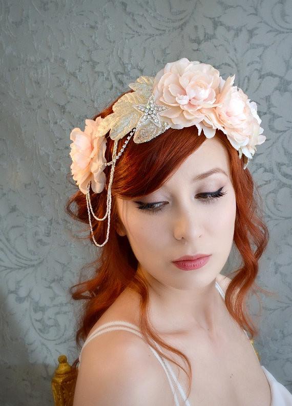 Pink Wedding Crown Bridal Headpiece Floral Crown Flappe