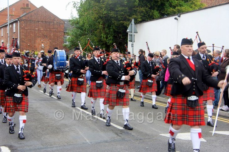 A pipe band at the Heart of the Forest Festival