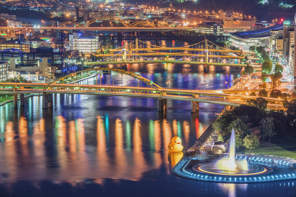 Pittsburgh bridges and the giant rubber duck at night HDR