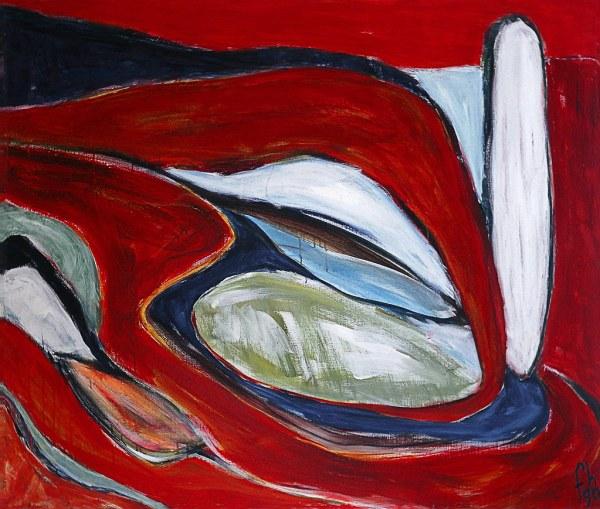 1990 - 'dune Landscape In Red' Acrylic Painting Canvas