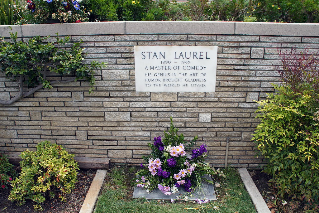 Grave of Stan Laurel half of the Laurel and Hardy comedy