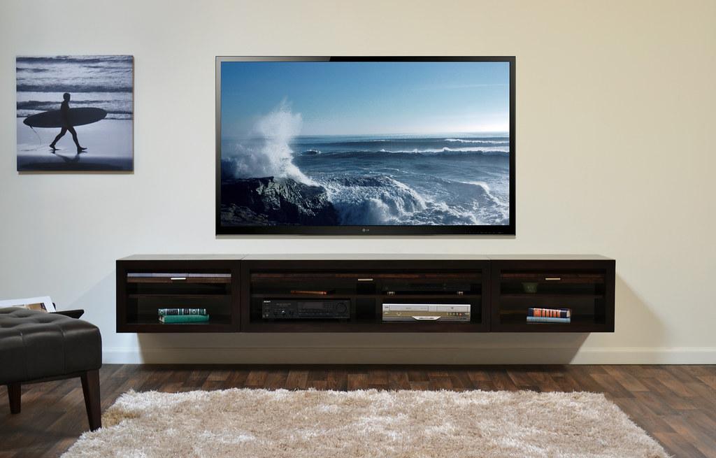 Wall Mount TV Console ECO GEO Entertainment Center Espress