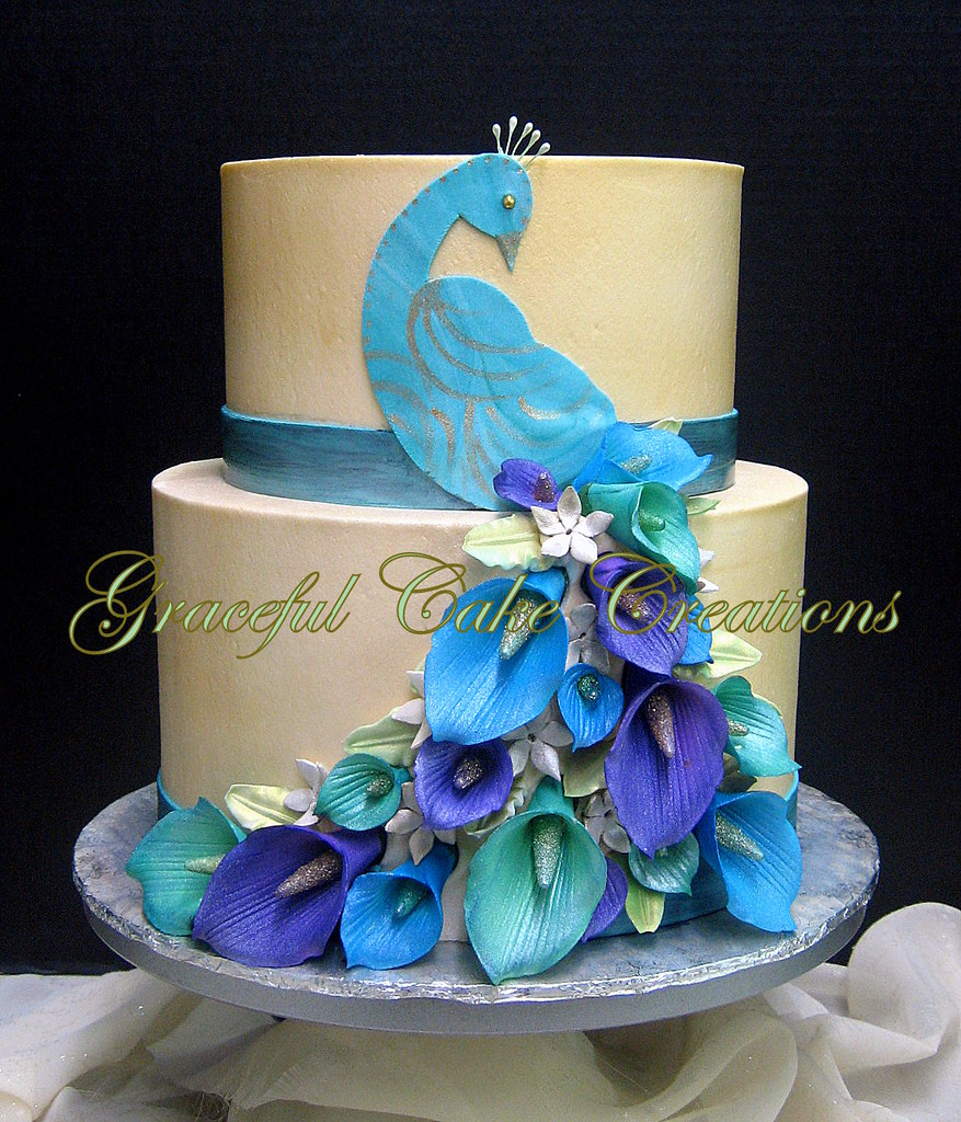 Elegant Peacock Themed Birthday Cake Grace Tari Flickr