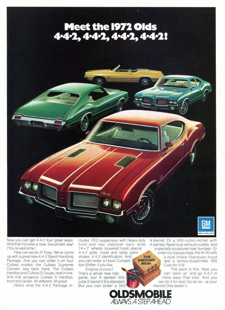 1972 Oldsmobile Cutlas 442 Advertisement Hot Rod Magazine