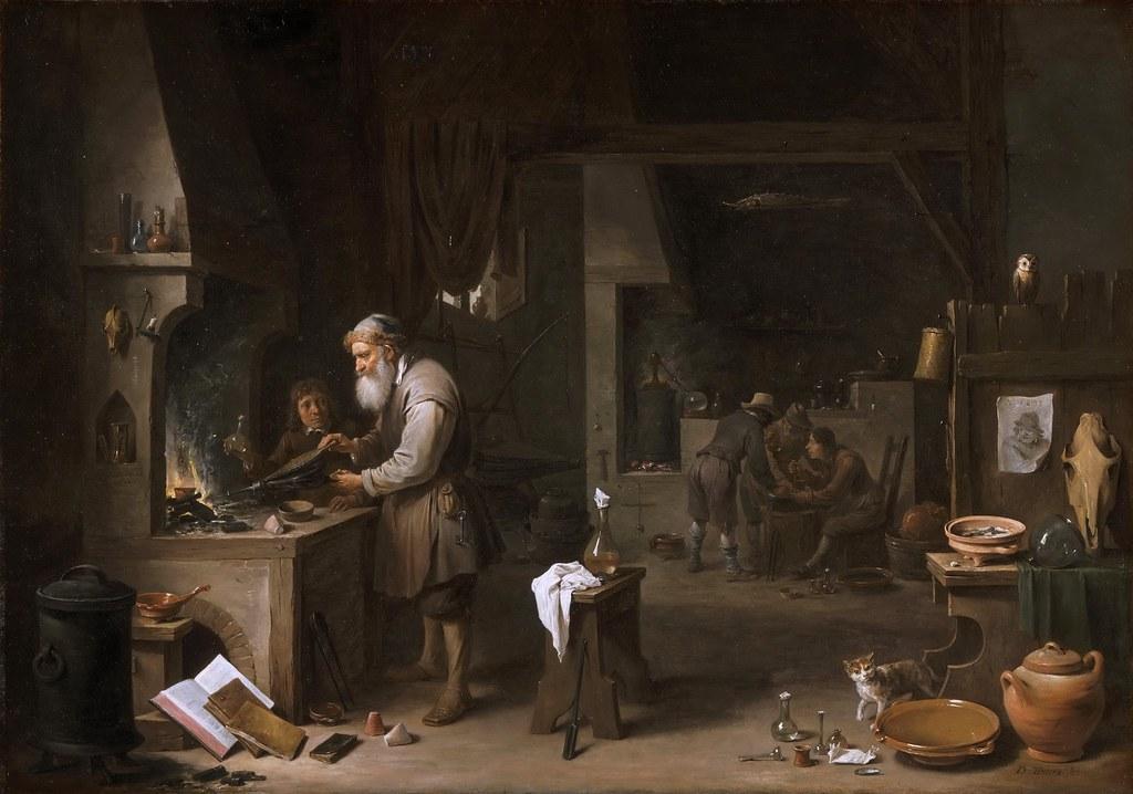 David Teniers II  The Alchemist 1649  Using a bellows