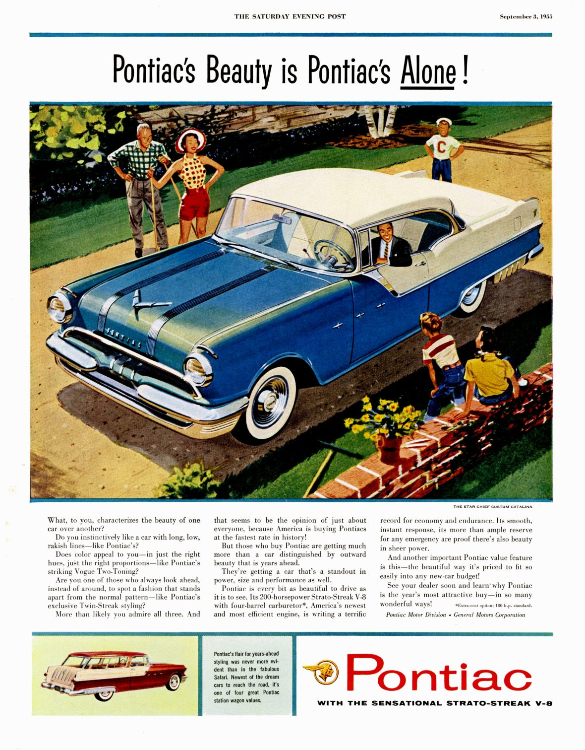 1955 Pontiac Star Chief Custom Catalina - published in The Saturday Evening Post - September 3, 1955