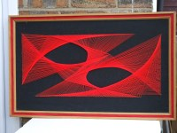 Retro 1970's String Art Wall Hanging In Vibrant Black & Re ...