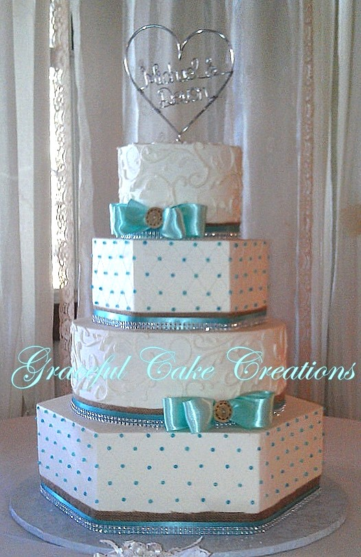 Country Chic Tiffany Blue And White Wedding Cake With Burl