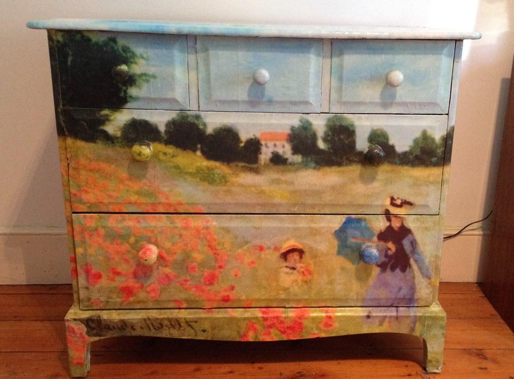 decoupage furniture chest of drawers dresser monet 2