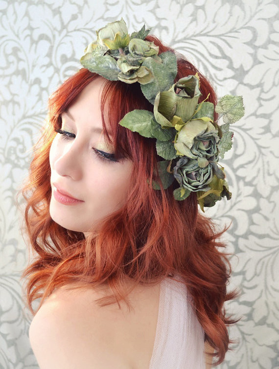 Flower Crown Green Rose And Ivy Headpiece Woodland Hair
