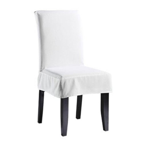 Sure Fit Twill Supreme Short Dining Room Chair Cover Whit