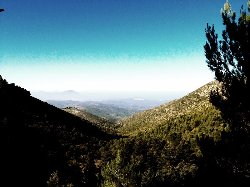 hiking mountains near athens - view from mount olympus in euboea/evia