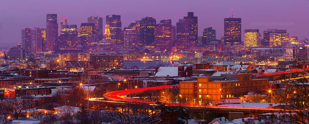 Purple Dawn over Snow Covered Boston Skyline East Boston  Flickr