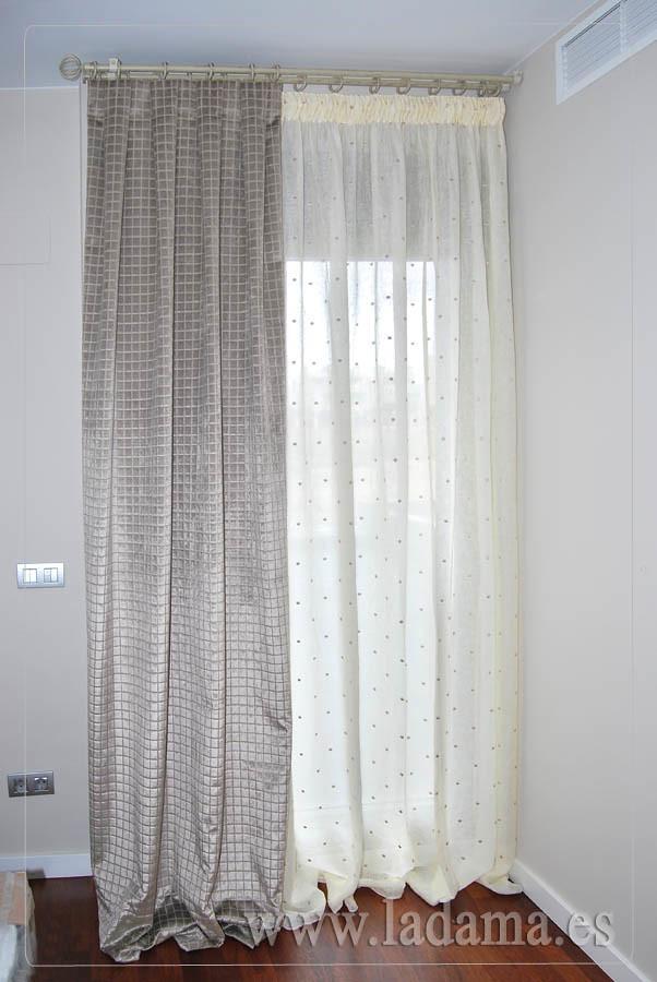 Cortinas de lino con doble cortina terciopelo y barra de f