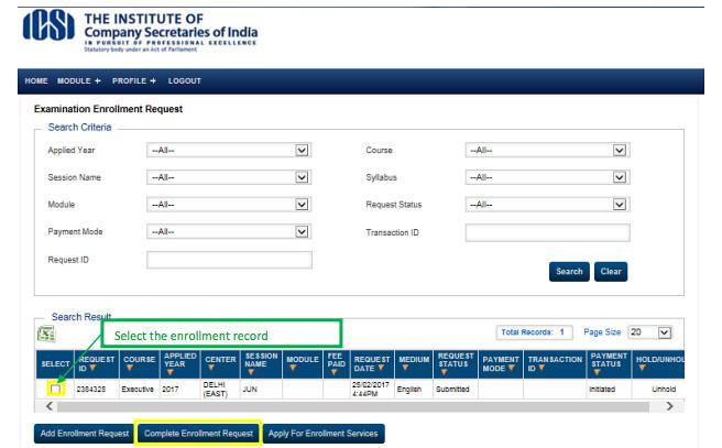 CS Exam Form Complete Enrolment Request