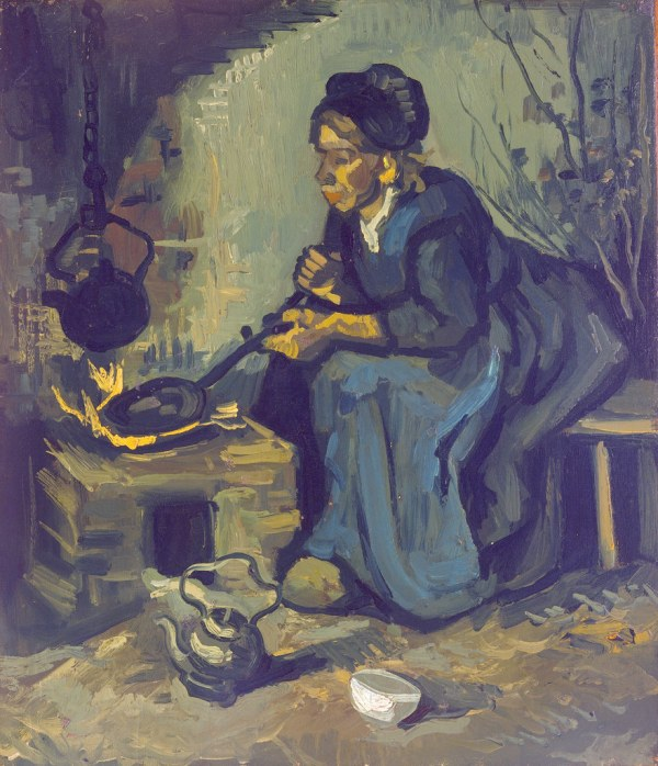 Cooking a Peasant Woman by Fireplace