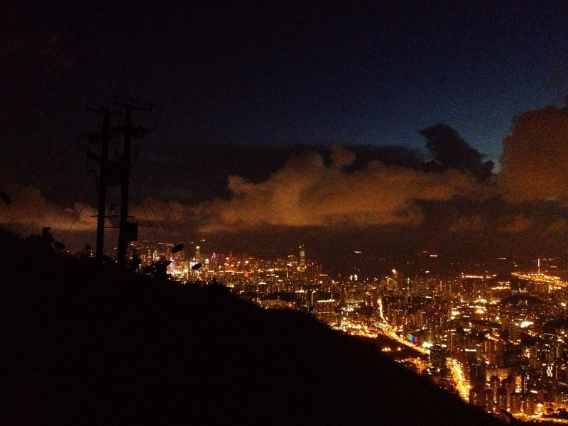 night view to hong kong from kowloon peak