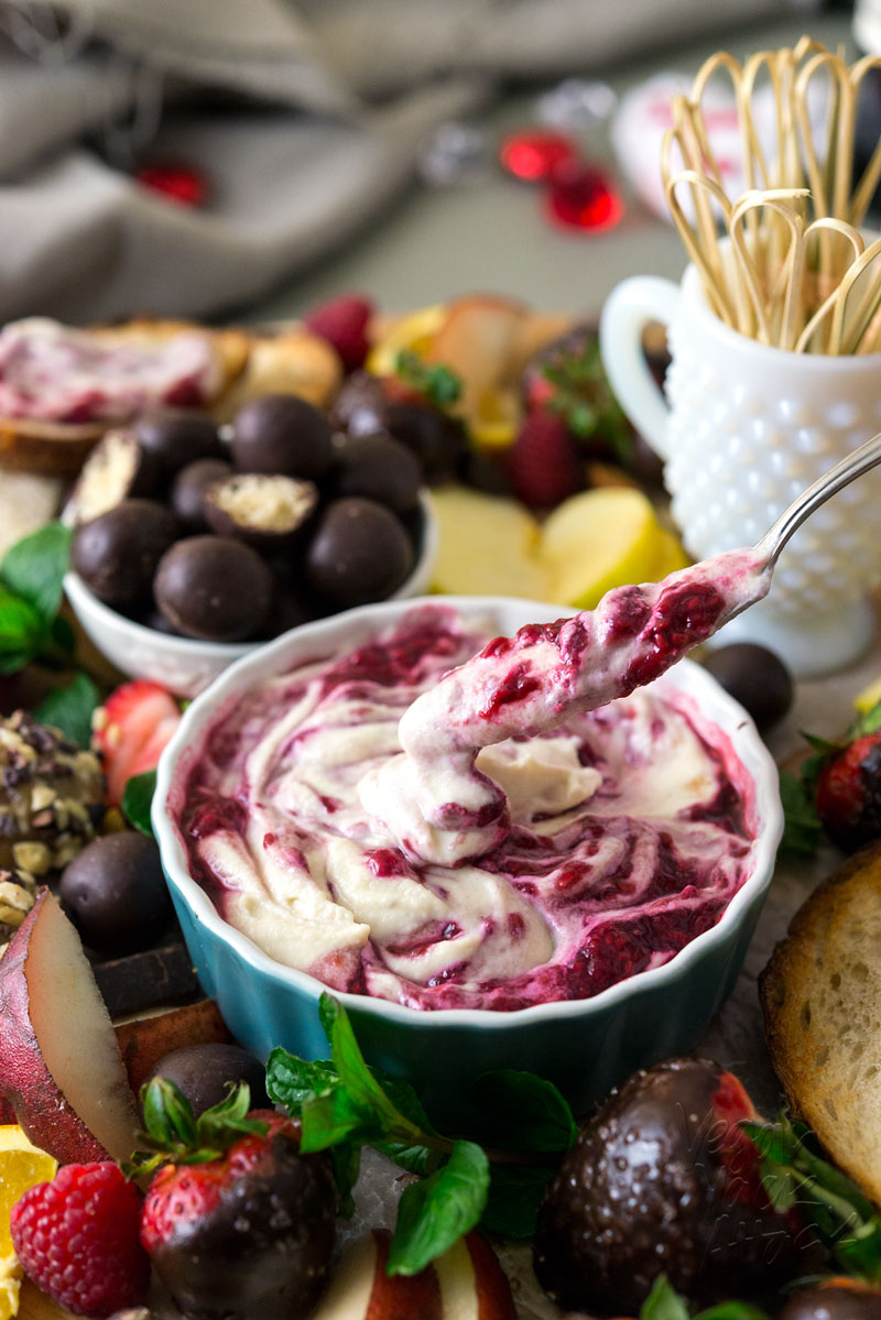 Stun a loved one with this Deluxe Valentine's Sweet Treat Platter - Raspberry Merlot Creme Fraiche, Maple Cashew Truffles and chocolate-covered strawberries. Mmm.. #Vegan #Soyfree #VeganYackAttack #EasierThanItLooks