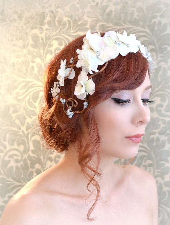 Wedding Wreath Bridal Flower Crown White Flower Headpiec