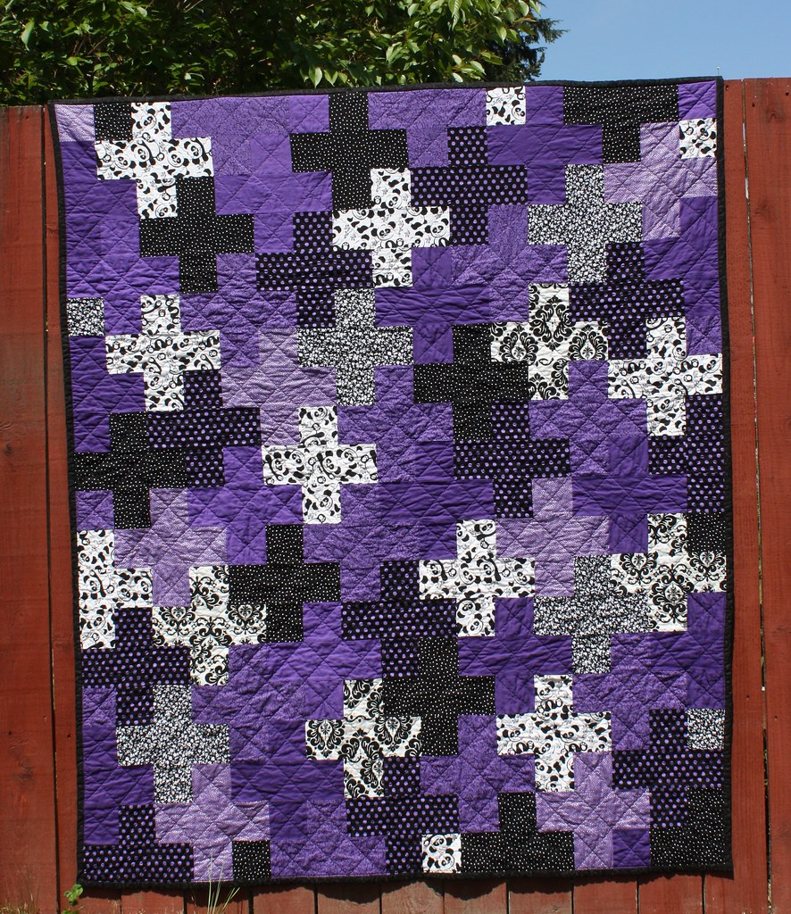 Purple Plus Quilt for Destiny  This is my first plus