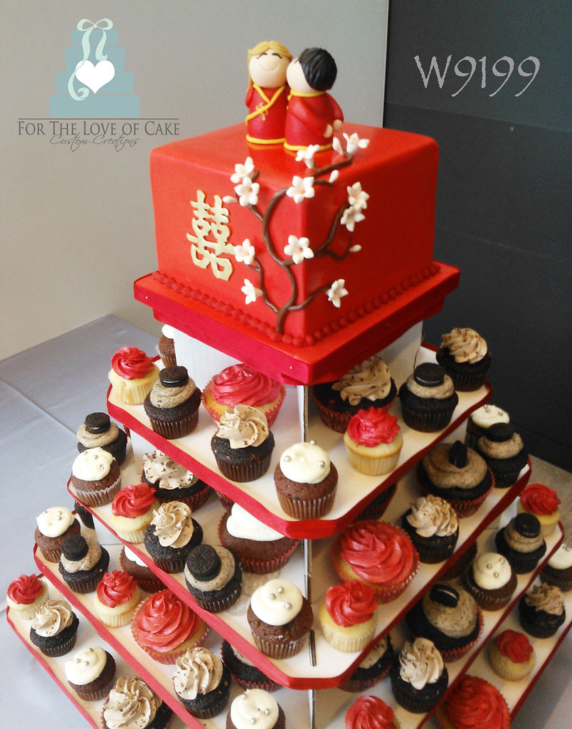 W9199 Square Double Happiness Chinese Wedding Cupcake Towe