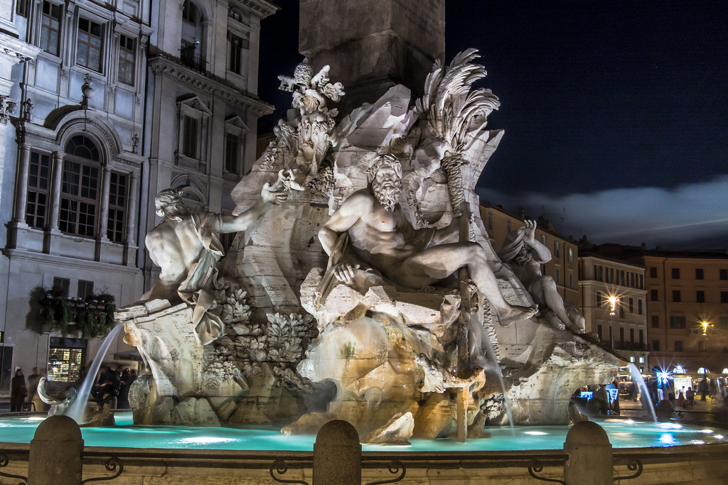 Fountain of the Four Rivers Piazza Navona  Rome at Night