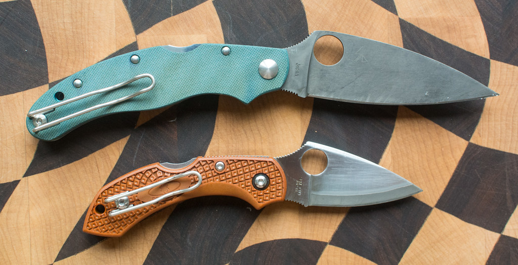 RIT dye on FRN and G10 scales Spyderco Caly 35 and Drago