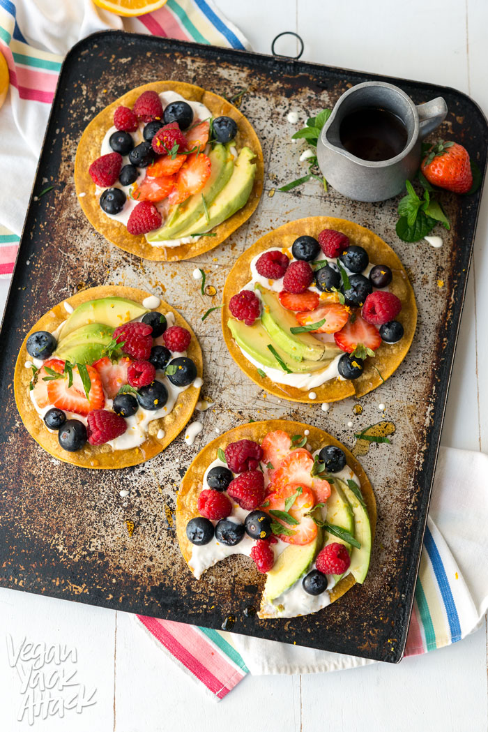 Sweet Breakfast Tostadas - A simple, delicious, breakfast snack made up of fresh fruit, sweet cream and crunchy tortillas! Vegan, Gluten-free, Soy-free #veganyackattack