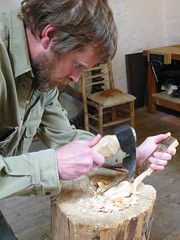 spoon carving with adze