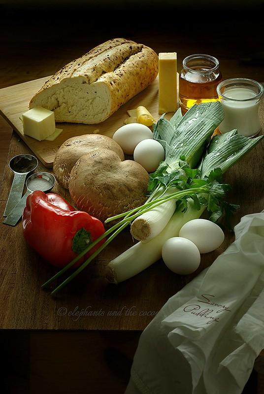 Mushroom and Leek Bread Pudding