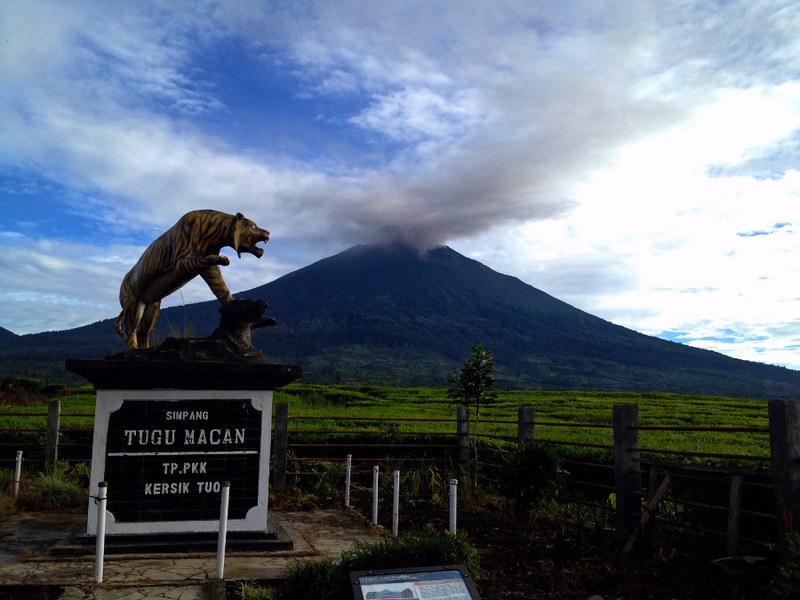 Tiger Statue on the junction where the road leading to the trailhead to the top of Mount Kerinci starts